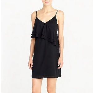 J. Crew Ruffle Front Cami Dress Size 6 Black